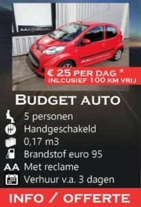 Peugeot 107 budget AA Autoverhuur